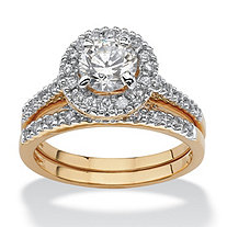 1.79 TCW Round Cubic Zirconia 18k Gold-Plated Bridal Engagement Ring Wedding Band Set