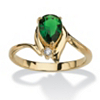 Related Item Pear-Cut Birthstone and Crystal Accent Ring 18k Gold-Plated