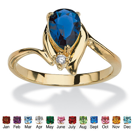 Pear-Cut Birthstone and Crystal Accent Ring 18k Gold-Plated at PalmBeach Jewelry