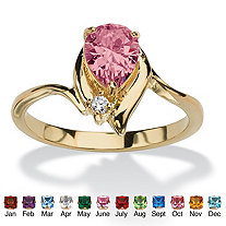 Pear-Cut Birthstone and Crystal Accent Ring 18k Gold-Plated