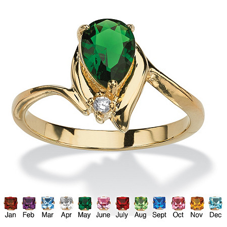 Pear-Cut Simulated Birthstone and Crystal Accent Ring 18k Gold-Plated at PalmBeach Jewelry