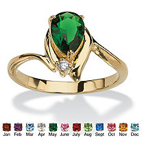 Pear-Cut Simulated Birthstone and Crystal Accent Ring 18k Gold-Plated