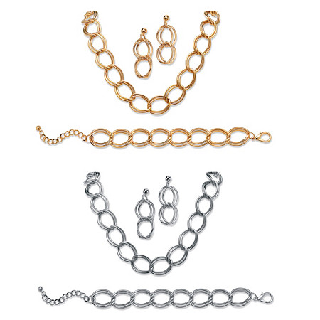Double Curb-Link Six-Piece Set in Yellow Gold Tone and Silvertone at PalmBeach Jewelry