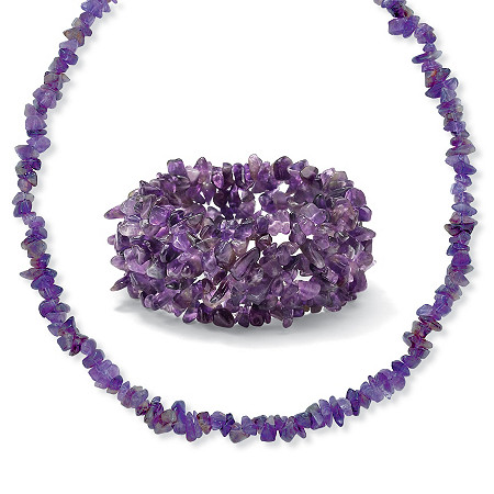 Genuine Purple Amethyst 2-Piece Nugget-Style Necklace and Stretch Bracelet Set 54