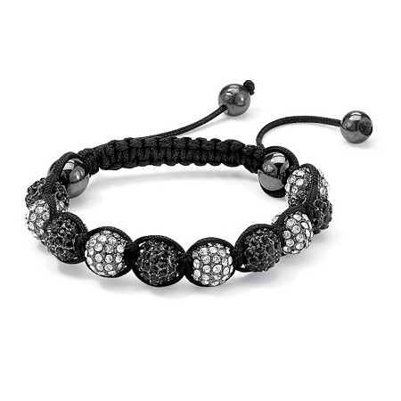 """Round Black and White Crystal Glass Ball Macrame Rope Tranquility Bracelet Adjustable 8""""-10"""" at PalmBeach Jewelry"""