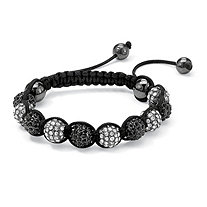 "Round Black and White Crystal Glass Ball Macrame Rope Tranquility Bracelet Adjustable 8""-10"""