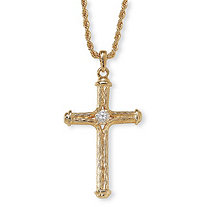Crystal Decorative Cross Pendant Necklace in Yellow Gold Tone 24""
