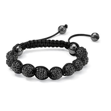 Round Black Crystal & Glass Ball Black Macrame Rope Tranquility Bracelet Adjustable 8