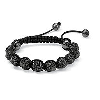 "Round Black Crystal & Glass Ball Black Macrame Rope Tranquility Bracelet Adjustable 8"" - 10"""