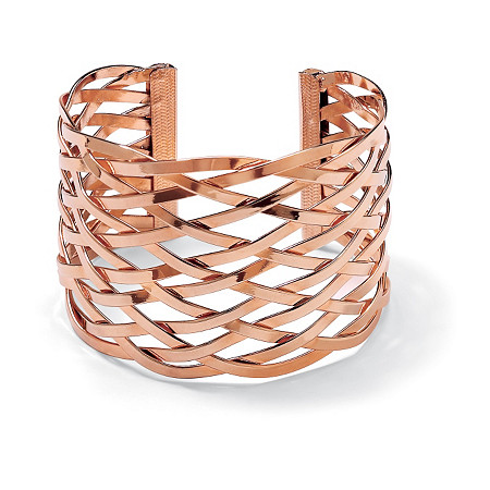 Lattice Cuff Bracelet Rose Gold-Plated at PalmBeach Jewelry
