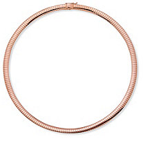 Rose Gold-Plated Omega-Link Collar Necklace 18