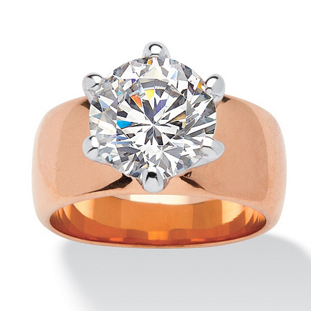 4 TCW Round Cubic Zirconia Solitaire Ring in Rose Gold-Plated at PalmBeach Jewelry