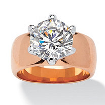 4 TCW Round Cubic Zirconia Solitaire Ring in Rose Gold-Plated