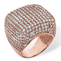 6.76 TCW Round Cubic Zirconia Pave Dome Ring Rose Gold-Plated