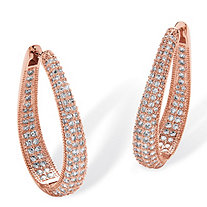 "8.10 TCW Round Cubic Zirconia Inside-Out Hoop Earrings Rose Gold-Plated (1 3/4"")"