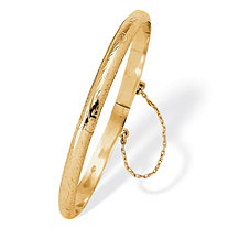 "Etched Bangle Bracelet in 18k Yellow Gold Over .925 Sterling Silver 7"" Length"