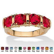 Round Birthstone 18k Gold-Plated Bar-Set Ring