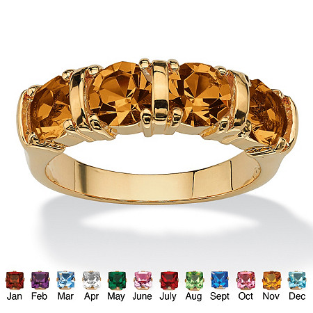 Round Birthstone 18k Gold-Plated Bar-Set Ring at PalmBeach Jewelry