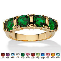 Round Simulated Birthstone Bar-Set Ring 18k Gold-Plated