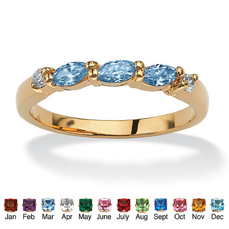 Marquise-Cut Birthstone with Cubic Zirconia 18k Gold-Plated Ring at PalmBeach Jewelry