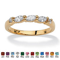 SETA JEWELRY Marquise-Cut Birthstone with Cubic Zirconia 18k Gold-Plated Ring