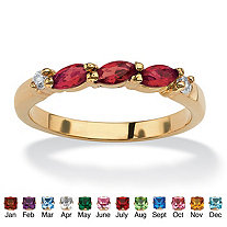 Marquise-Cut Simulated Birthstone with Cubic Zirconia 18k Gold-Plated Ring