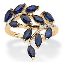 2 64 TCW Genuine Marquise-Cut Midnight Blue Sapphire Ring in 18k Gold over Sterling Silver