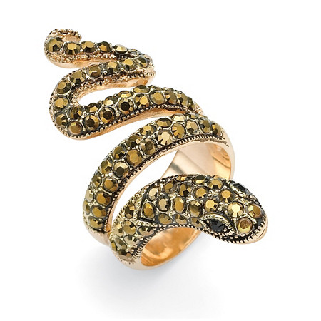 Round Brown and Black Crystal Yellow Gold-Plated Coiled Snake Ring at PalmBeach Jewelry
