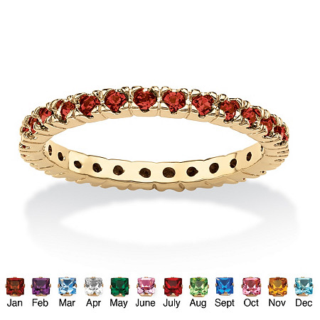 Round Birthstone 18k Gold-Plated Stackable Eternity Band at PalmBeach Jewelry