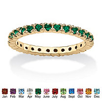 Round Birthstone 18k Gold-Plated Stackable Eternity Band