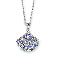 1.62 TCW Genuine Purple Tanzanite Diamond Accent Platinum over Sterling Silver Pendant and Chain