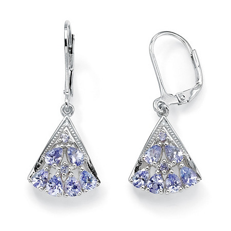 1.28 TCW Pear-Cut Genuine Tanzanite Diamond Accent Platinum over Sterling Silver Fan-Shaped Earrings at PalmBeach Jewelry