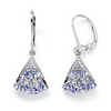 Related Item 1.28 TCW Pear-Cut Genuine Tanzanite Diamond Accent Platinum over Sterling Silver Fan-Shaped Earrings