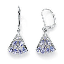 1.28 TCW Pear-Cut Genuine Tanzanite Diamond Accent Platinum over Sterling Silver Fan-Shaped Earrings