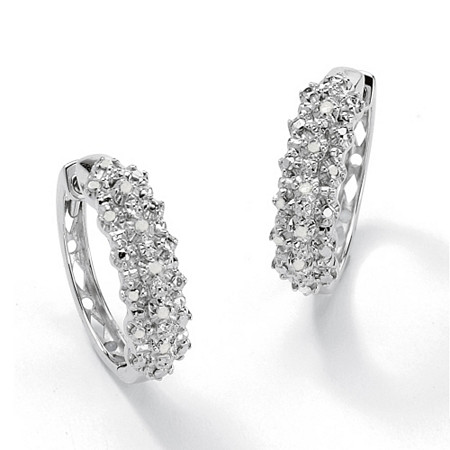 1/10 TCW Ice Diamond Huggie-Hoop Earrings in Platinum over .925 Sterling Silver at PalmBeach Jewelry