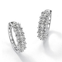 "1/10 TCW Ice Diamond Huggie-Hoop Earrings in Platinum over .925 Sterling Silver (3/4"")"