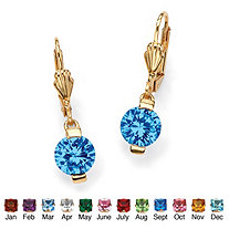 Round Birthstone 18k Gold-Plated Drop Earrings