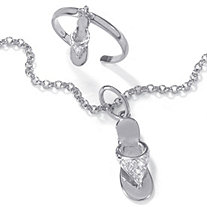 "Diamond Accent Platinum over Silver 9"" Flip-Flop Ankle Bracelet and Toe Ring Set"