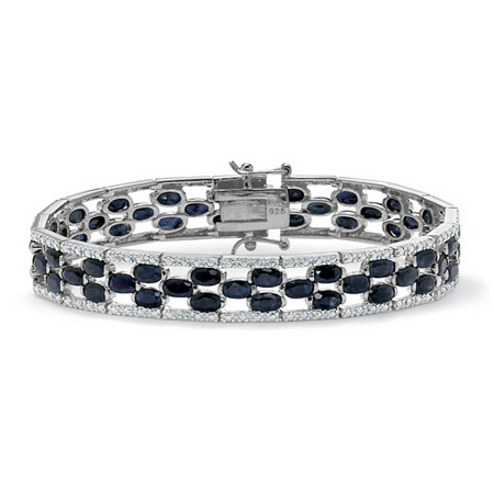 "20.66 TCW Oval-Cut Genuine Midnight Blue Sapphire Platinum over Sterling Silver Bracelet 7.25"" at PalmBeach Jewelry"