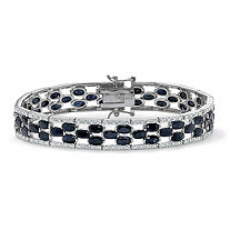 20.66 TCW Oval-Cut Genuine Midnight Blue Sapphire Platinum over Sterling Silver Bracelet 7.25""