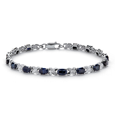 8.40 TCW Genuine Midnight Blue Sapphire Platinum over Sterling Silver