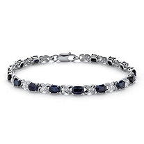 "8.40 TCW Genuine Midnight Blue Sapphire Platinum over Sterling Silver ""X & O"" Bracelet"