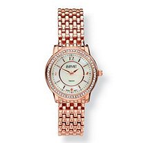 SETA JEWELRY Diamond Accent and Mother-of-Pearl Rose Gold-Plated Panther-Link Watch Adjustable 7 1/2
