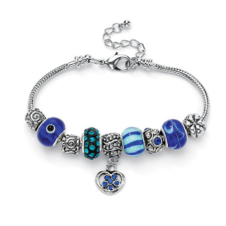 Blue Crystal Bali-Style Half Beaded Charm Bracelet in Silvertone at PalmBeach Jewelry
