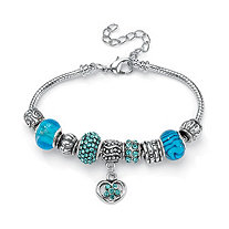 Aqua Crystal Bali-Style Beaded Charm and Spacer Bracelet in Silvertone 8