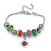 Related Item Multicolor Simulated Gemstone Bali-Style Beaded Charm and Spacer Bracelet .93 TCW in Silvertone 8