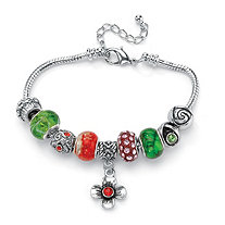 Red and Green Crystal Silvertone Bali-Style Beaded Charm and Spacer Bracelet 8""