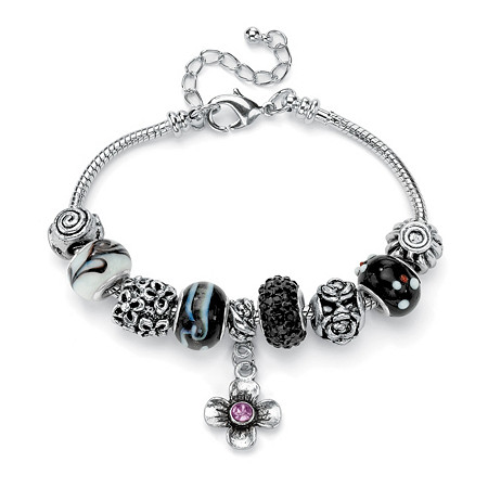 Black and Purple Crystal Bali-Style Charm and Spacer Bracelet in Silvertone at PalmBeach Jewelry