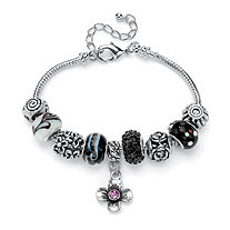 Black and Purple Crystal Bali-Style Charm and Spacer Bracelet in Silvertone