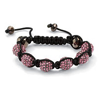 Round Pink Crystal Glass Accent Black Macrame Rope Multi-Crystal Ball Tranquility Bracelet 8""